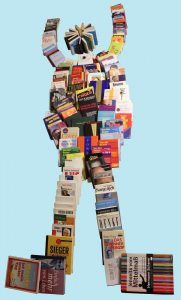 Erfolgreicher Mensch - dargestellt mit Bücher