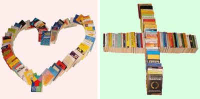 Lebenshilfe = Herz und das Kreuz für Hilfe dargestellt mit Büchern